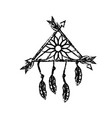 figure beauty dream catcher with feathers and vector image vector image