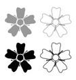 flower sakura icon set grey black color vector image