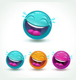 funny glossy comic round character laughing face vector image