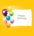happy birthday banner card frame template with vector image