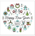 Happy New Year 2017 template Minimalistic vector image