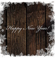 Happy New Year Greeting on Wooden Background vector image vector image