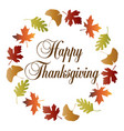 happy thanksgiving wreath with gradient leaf frame vector image vector image