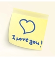 i love you paper note vector image vector image