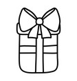 line present gift box with ribbon bow vector image vector image