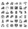 logistic and shipping business icon set solid vector image