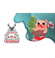 merry christmas and happy new year pig vector image vector image