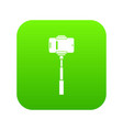 mobile phone on a selfie stick icon digital green vector image vector image