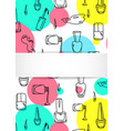 nail banner with doodle manicure pattern hand vector image vector image