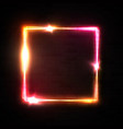 neon square frame on black brick background vector image