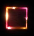neon square frame on black brick background vector image vector image