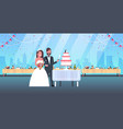 newlyweds just married man woman cutting sweet vector image vector image