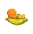 orange with cut piece and ripe banana on green vector image