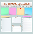 paper memo mockup set realistic style vector image