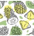 pineapple backdrop delicious fruit sketch vector image