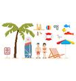 Pixel art style beach set vector image vector image