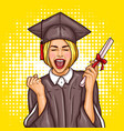 pop art excited girl graduate student in a vector image vector image