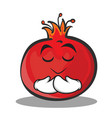 praying face pomegranate cartoon character style vector image vector image