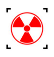 radiation round sign red icon inside vector image