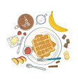 realistic composition with delicious sweet vector image