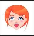 redhead woman laughing face flat icon vector image vector image