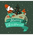 Santa Claus with cute fox celebrating Christmas vector image
