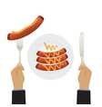 Sausages on a plate and hand with a knife vector image vector image