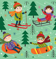 seamless pattern winter fun with kids on ski vector image