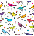 seamless pattern with cute birds and hearts on vector image