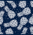 seamless pattern with pineapples in engraving vector image vector image