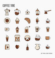 set coffee equipment icons for shop cafe menu vector image