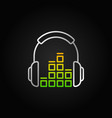 silver headphones with sound equalizer line vector image vector image