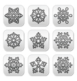 Snowflakes winter black and white buttons set vector image