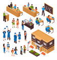 students and teachers isometric set vector image vector image