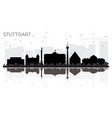 stuttgart germany city skyline black and white vector image vector image