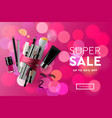 super sale cosmetics banner for shopping season vector image vector image