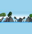 three small waterfalls and big lake vector image vector image