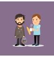 Volunteer help the homeless vector image