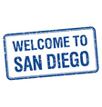 welcome to San Diego blue grunge square stamp vector image vector image