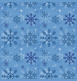 winter pattern with blue snowflakes in flat vector image