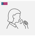 woman coughing line icon on white background vector image