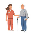 young nurse helping and supporting elderly man vector image