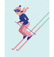 Young woman skiing vector image vector image