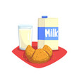 transparent glass of fresh milk and sweet vector image