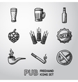 Pub beer handdrawn icons set vector image
