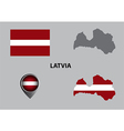 Map of Latvia and symbol vector image