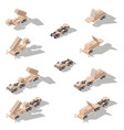 air defense missile system isometric icon set vector image vector image