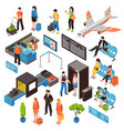 airport isometric icons set vector image vector image