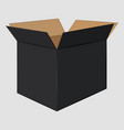 black cardboard open box side view package design vector image vector image