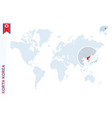 blue world map with magnifying on north korea vector image vector image